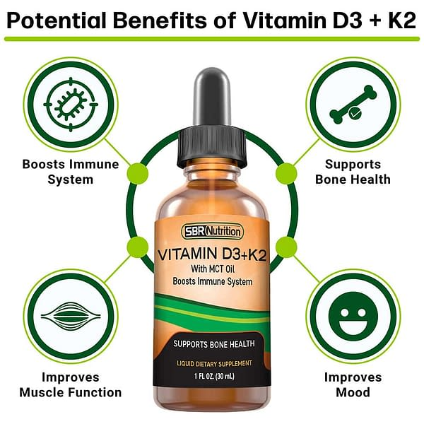 Vitamin D3 + K2 - For Immune Support, Bone and Cardiovascular Support